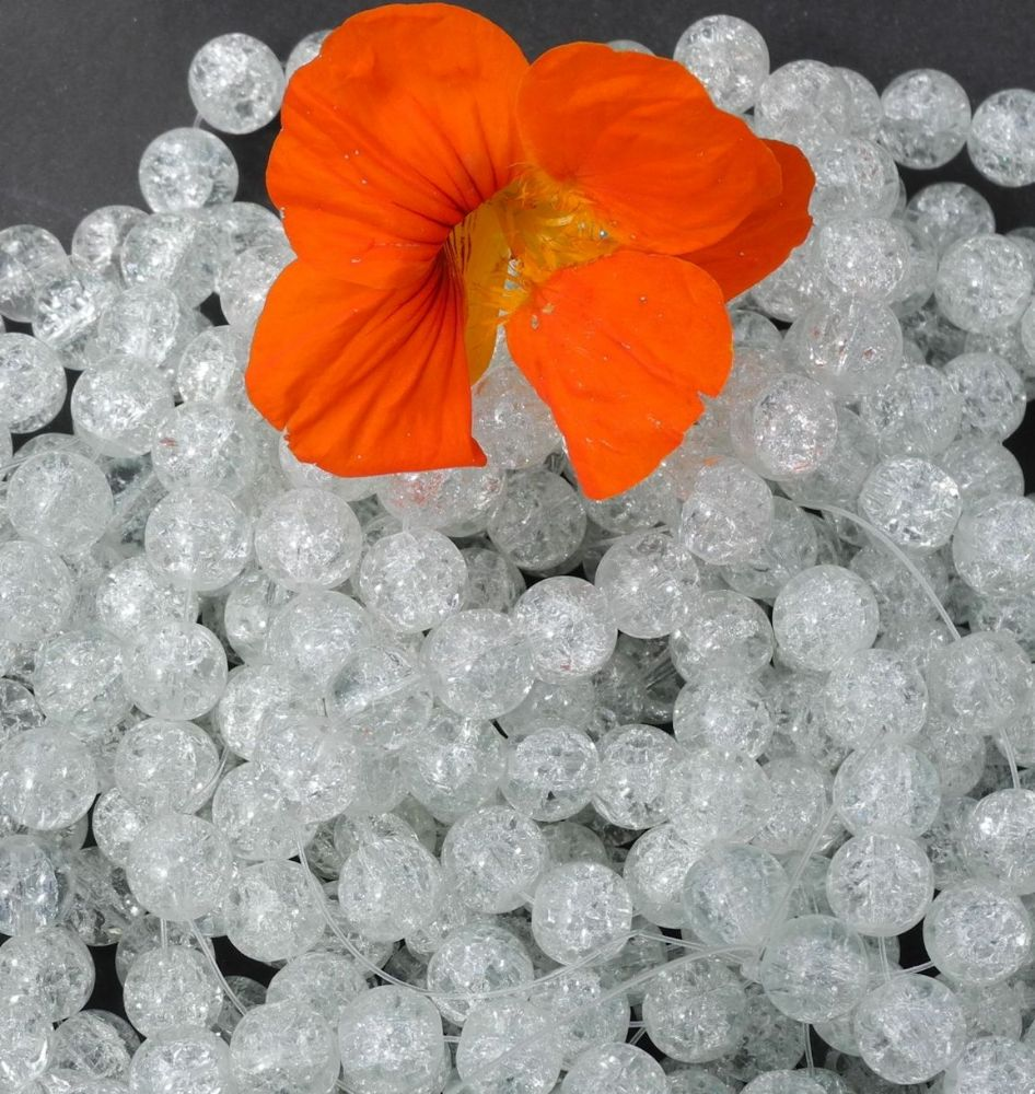 82 x 10mm Clear Round Crackle Glass Beads